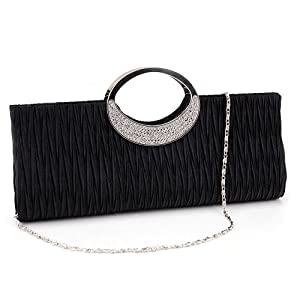 Rhinestone Ring Handle Sateen Pleated Clutch Prom Evening Satin-Look Handbag