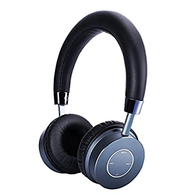 Lightweight Wireless Bluetooth Headphones by Glotao On Ear Headset with Inline Microphone,Stereo Sound & Best Portable Earphones For Music, PC Gaming, TV, SmartPhones - 16 Hours Battery