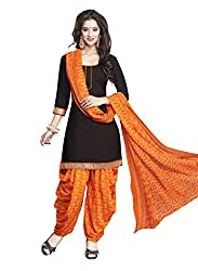 Salwar House Black & Orange Unstitched Synthetic Printed Dress Material with Dupatta