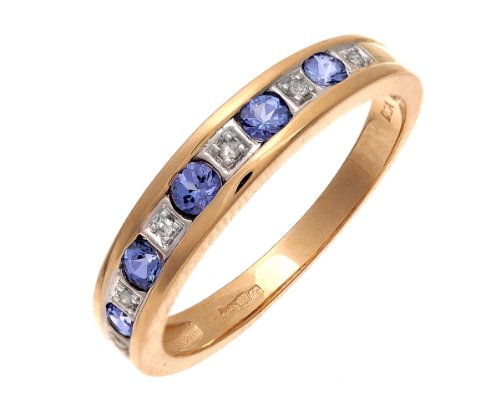 9ct Yellow Gold Tanzanite and Diamond Eternity Ring - Size P