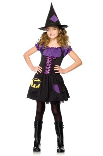Leg Avenue Little Girls 2pc Black/purple Cat Witch Costume Halloween Party Dress