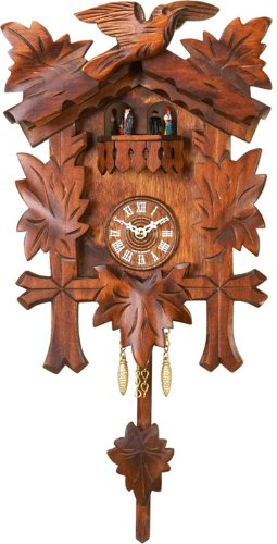 River City Clocks Quartz Cuckoo Clock – Five Leaves, One Bird with Dancers – Westminster Chime or Cuckoo Sound – 10 Inches Tall – Model # 2210Q-10WC