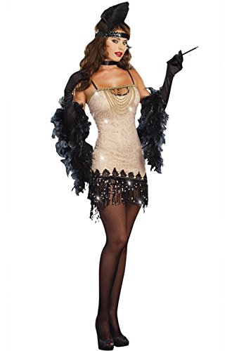 Mememall Fashion 1920s Jazzy Jezebell Flapper Sequin Dress Adult Halloween Costume (Jackie Moon Halloween Costume)