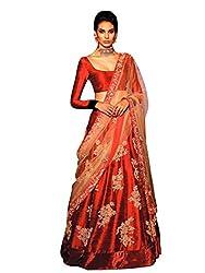 Pushty Fashion Red Emboidered Net and Silk Lehenga