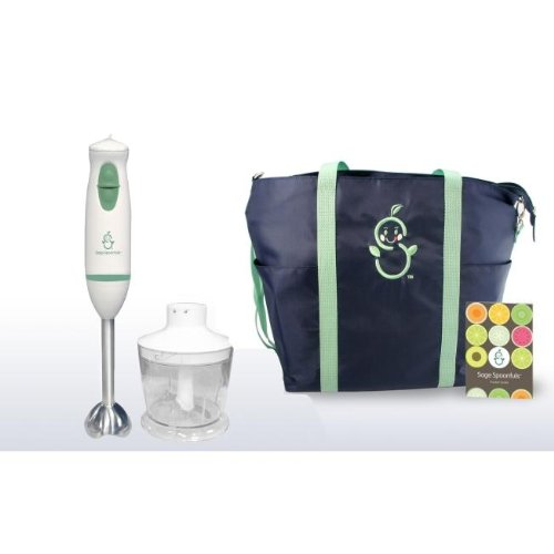 Sage Mommy Tote With Pocket Guide And Sage Spoonfuls Baby Puree & Blend