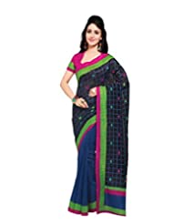 Inddus Exclusive Women Art Silk Black Printed Saree - B00NMDYO0Y