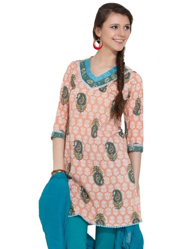 Alma Women's Cotton Carrey Printed Pink Kurta - M (multicolor)