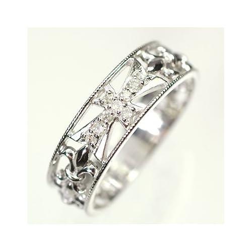 [キュートジュエリー]Cute jewerly ダイヤモンド 指輪 K18WG ダイヤモンド0.07ct ゴシッククロスリング 15