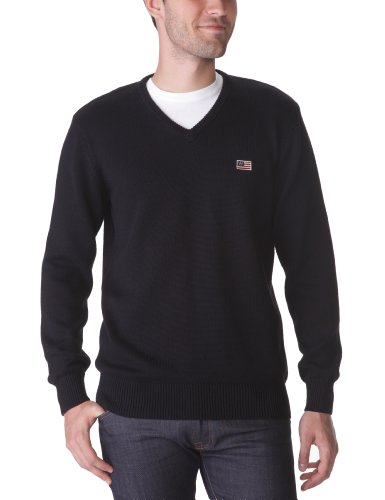 WRANGLER Flag V-Knit Men's Jumper Black Small