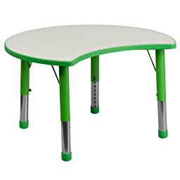 Flash Furniture Adjustable Cutout Circle Plastic Activity Table with Grey Top, 25.125 by 35.5-Inch, Green