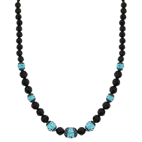 Onyx & Aqua Hues Single Strand Necklace