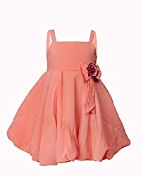 Softouch Girls' Frock (Peach_3-4 Years)