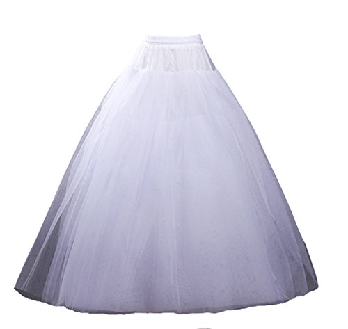 L'ivresse Women's A-line Long 4 Layers Tulle Wedding Petticoat White