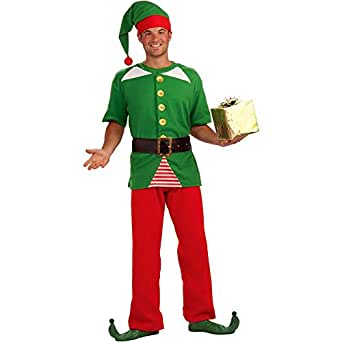 Amazon com jolly christmas elf adult costume standard adult sized