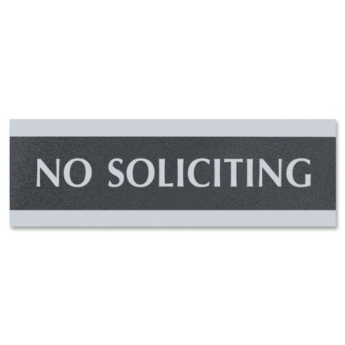 "U. S. Stamp & Sign Century Series ""No Soliciting"" Sign, 3X9, Black/Silver (4758)"