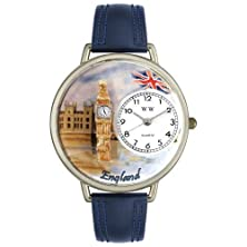 buy Whimsical Watches Women'S U1420002 Unisex Silver England Navy Blue Leather And Silvertone Watch