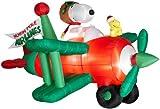 Peanuts Airblown Animated Christmas Snoopy in Bi-plane