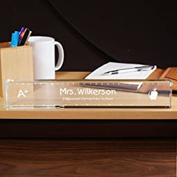 Personalized Teacher Name Plate, 12 & 1/16th x 2 & ¼ x 11/16th, crystal clear glass nameplate