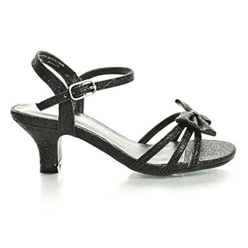 Girlyii Black Pat Children'S Open Toe Bow Slingback Small Block Heel Sandals (1 M Us Little Kid, Black Glt) front-368364