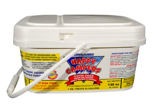 Happy Campers Organic RV Holding Tank Treatment - extra large 130oz tub (130-treatments) for RV, Marine, Camping, Portable Toilets.