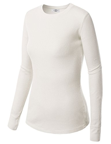 MBJ WT5 Womens Round Neck Thermal Long Sleeve Shirt with Stretch M WHITE