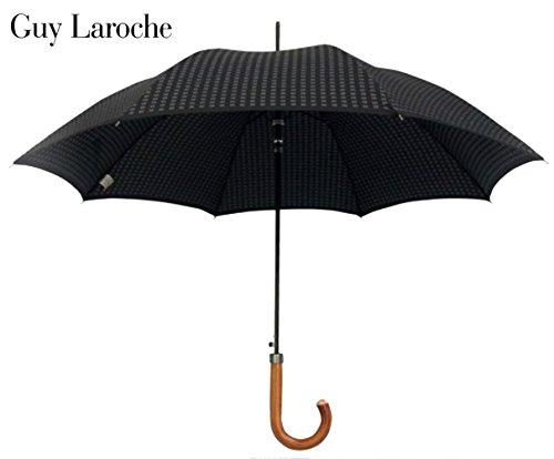guy-laroche-designer-regenschirm-fur-herren-schwarz-mit-holzgriff-schutzhulle