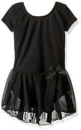 Capezio Little Girls\' Short Sleeve Nylon Dress,Black,S (4-6)