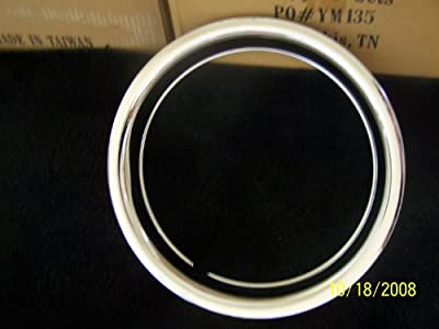 """14"""" Chrome Plated STainless Steel Beauty Steel Wheel Trim Rings 14 x 6 1 3/4 Deep Set of Four"""