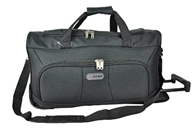 """5 Cities® 21"""" Cabin Approved Super Lightweight Ripstop Fabric Wheeled Luggage Bag (Black) - 'Right Size, Right Weight, Right Price!' - LuggageTravelBags"""