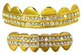 Top & Bottom 4 deck Hiphop bling Grillz Set - Gold Plated