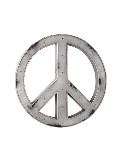 Privilege Metal Peace Symbol with LED Lights, Silver