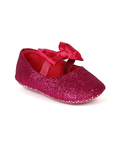 Jelly Beans Bd59 Glitter Leatherette Mary Jane Elastic Bow Ballerina Flat (Baby Girl / Toddler) - Fuchsia (Size: Toddler 4) front-1066770