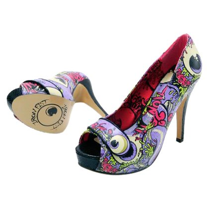 Iron Fist Women's Oh No Platform Shoe Peep-toe Heel Purple IFL0072 4 UK