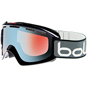 Bolle Nova Adult Snow Racing Snowmobile Goggles Eyewear - Black/Modulator Vermillion Gun / Medium/Large