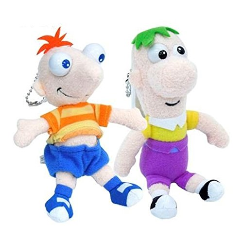 Japan Disney Official Phineas and Ferb - Flynn and Fletcher Brothers Plush Toy Set with Shiny Ballchain Character Mascot Collection Smartphone Key Chain Charm Accessory Wonderful (Pocket Laser Light Show)