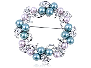 Swarovski Crystal Elements Faux Pearl Flower Holiday Wreath Fashion Pin Brooch