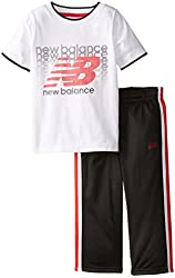 New Balance Little Boys' Repeating Logo T-Shirt and Tricot Pant Set