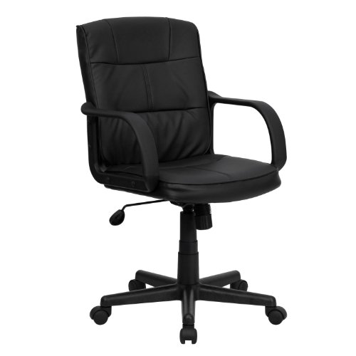 Flash Furniture Mid-Back Black Leather Office Chair with Nylon Arms[GO-228S-BK-LEA-GG]