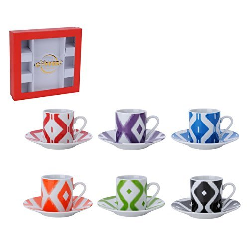 Porcelain China Espresso Cups and Saucers Turkish Coffee Demitasse (Ikat Pattern) (Alpine Cuisine Espresso compare prices)