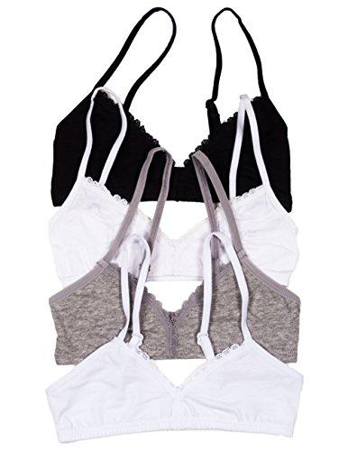 Caramel Cantina Girls Fashion Bra 4-Pack (28Aa, Black/White Gray/White) front-478099