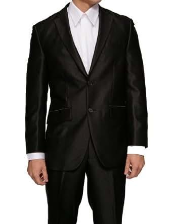 New Mens Black Slim Fit Sharkskin 2 Button Dress Suit (Jacket & Pants)