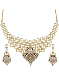 Zeneme American Diamond Gold Plated Necklace Set For Women