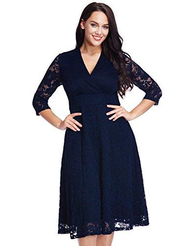 LookbookStore Women's Plus Size Navy Lace Bridal Formal Skater Dress 18W