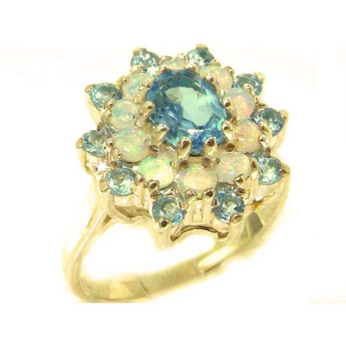Fabulous Solid 9ct Gold Natural Blue Topaz & Fiery Opal 3 Tier Large Cluster Ring - Size P - Finger Sizes K to Y Available - Suitable as an Anniversary, Engagement or Eternity ring
