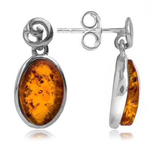 Sterling Silver Honey Amber Oval Earrings
