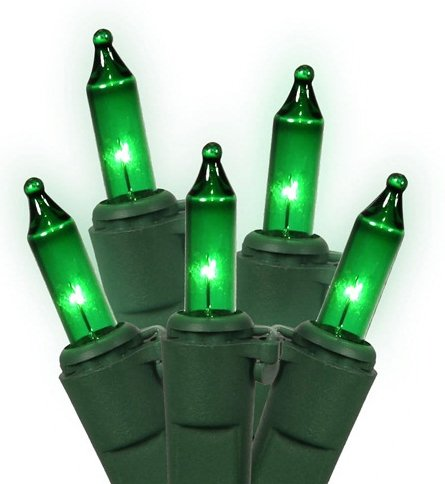 Set Of 50 Green Led Mini Christmas Lights - Green Wire