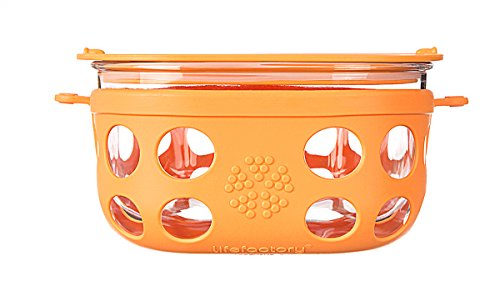 Lifefactory 4-Cup Glass Food Storage with Silicone Sleeve, Orange