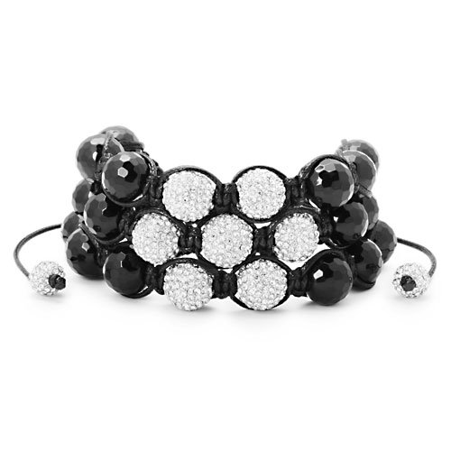3 Row CZ Disco Ball Black Onyx Jabari Disco Ball Bracelet