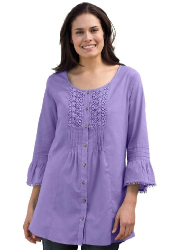 Plus Size Shirt In Tunic Length With Crochet, Pleats And Pintucks
