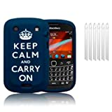 BLACKBERRY BOLD 9900 BLUE/WHITE KEEP CALM & CARRY ON LASERED SILICONE SKIN CASE / COVER / SHELL + 6-IN-1 SCREEN PROTECTOR PACK PART OF THE QUBITS ACCESSORIES RANGEby Qubits